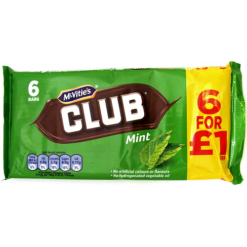 McVitie's Club Mint 6 x 22g (132g)