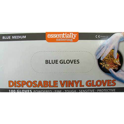 Essentially Catering Blue Vinyl Gloves Medium