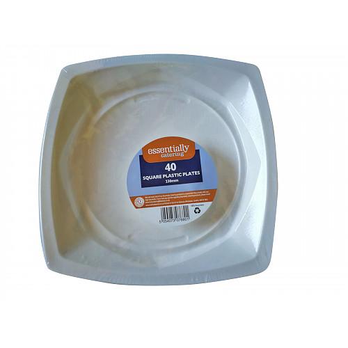 Essential Catering Square Plastic Plates 23cm