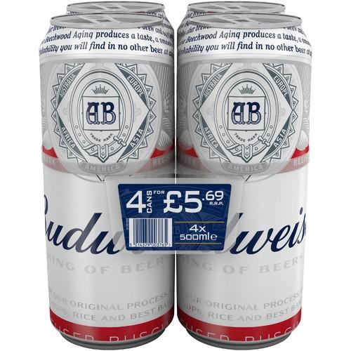Budweiser 4.5% Abv 4 Pack PM £5.69