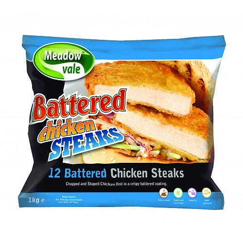 Meadow Vale 12 Battered Chicken Steaks 1.02kg