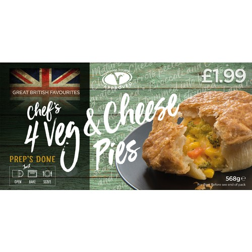 Chefs 4 Veg & Cheese Pies PM £1.99