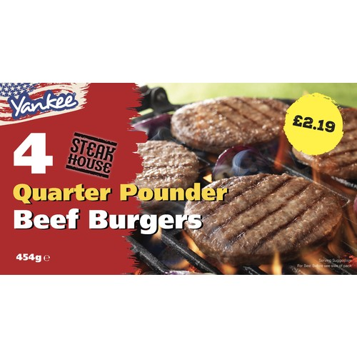 Yankee 4 Quarter Pouder Beef Burgers PM £2.19
