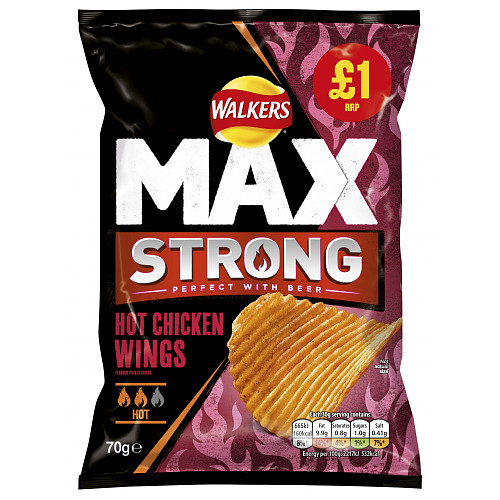 Walkers Max Strong Hot Chicken Wings Crisps £1 PMP 75g