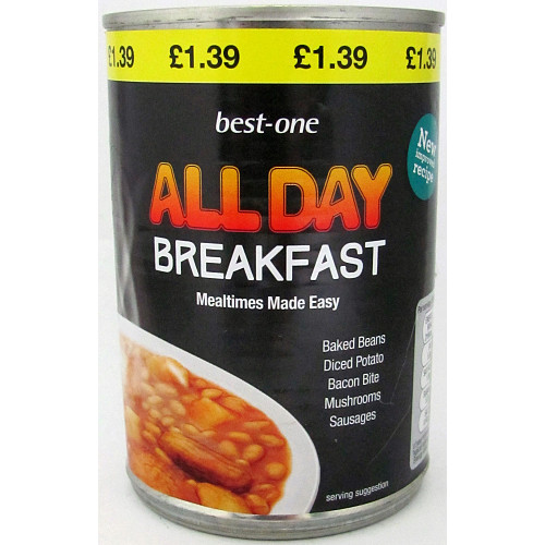 Best-One All Day Breakfast Baked Beans Diced Potato Bacon Bite Mushroom Sausages 400g