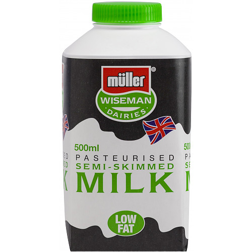Müller Wiseman Dairies Pasteurised Semi Skimmed Milk 500ml