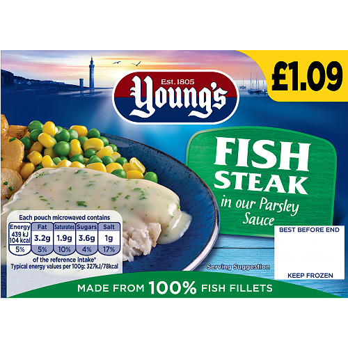 Youngs Fish Steak In Parsley Sauce PM £1.09