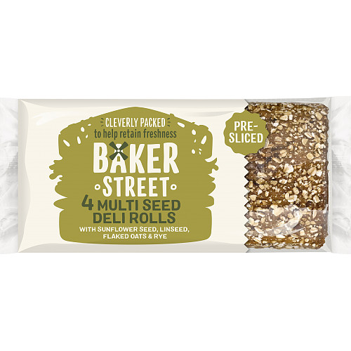 Baker Street 4 Pre-Sliced Multi Seed Deli Rolls with Sunflower Seed, Linseed, Flaked Oats & Rye