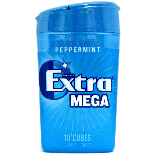 Extra Mega Peppermint Chewing Gum Sugar Free Small Bottle 10 Cubes