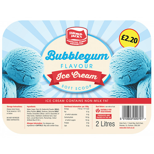 Farmer Jack's Bubblegum Flavour Ice Cream 1.8 Litres