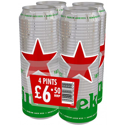 Heineken Premium Lager Beer 4 x 568ml Cans