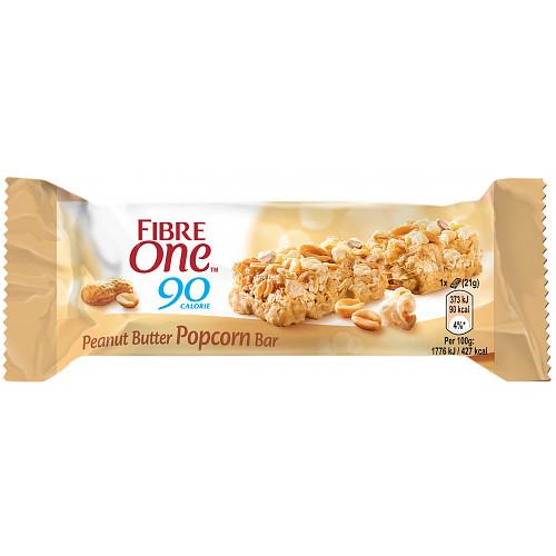 Fibre One 90 Calorie Peanut Butter Popcorn Bar 21g