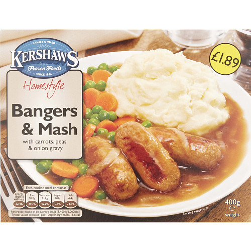 Kershaws Homestyle Bangers & Mash with Carrots, Peas & Onion Gravy 400g