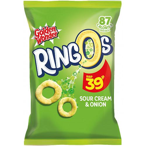 Golden Wonder Ringos Sour Cream And Onion PM 39p
