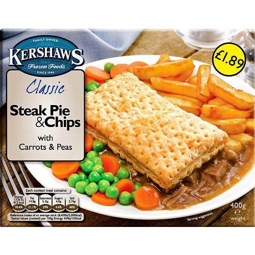 Kershaws Steak Pie & Chips £1.89