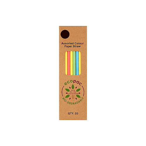 Ecopac Assorted Colour Paper Straws PM £1