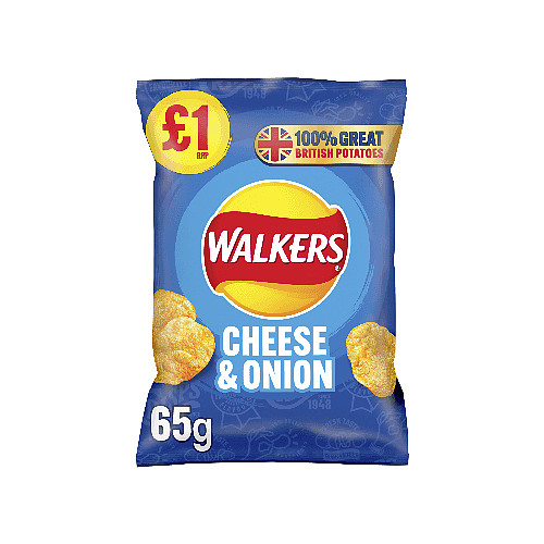 Walkers Cheese & Onion Crisps £1 RRP PMP 65g