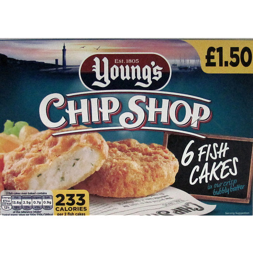 Young's Chip Shop 6 Fish Cakes PMP 300g