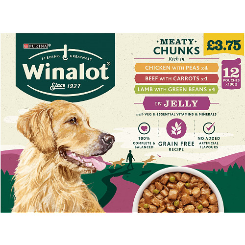 WINALOT Adult Dog Food Pouch Mixed in Jelly 12x100g PMP