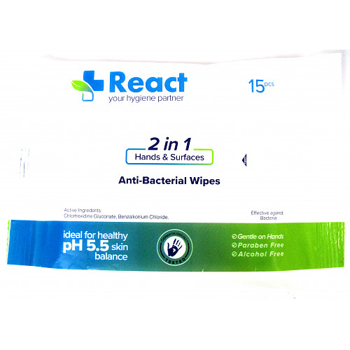 React Anti Bacterial Wipes Travel Pack