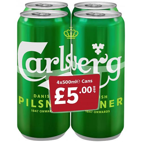 Carlsberg Lager Beer 4 x 500ml PMP £5