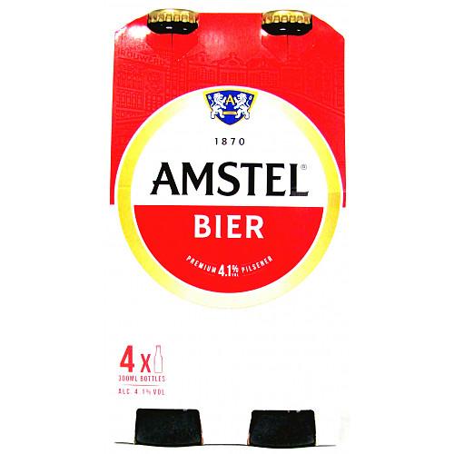 Amstel Lager Beer 4 x 300ML Bottles
