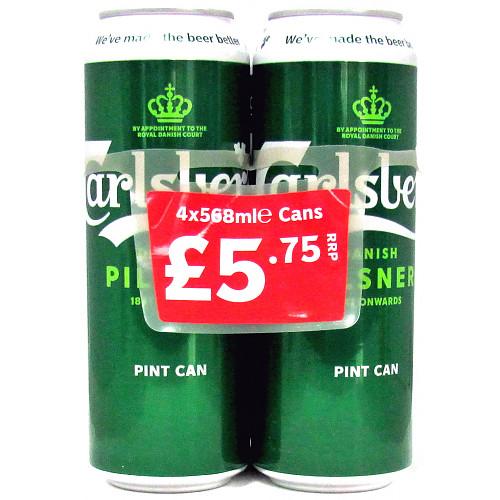 Carlsberg Lager Beer 4 x 568ml PMP £5.75
