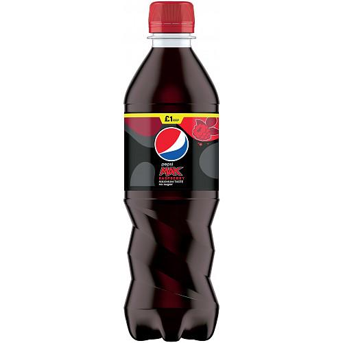 Pepsi Max Raspberry No Sugar Cola Bottle PMP 500ml