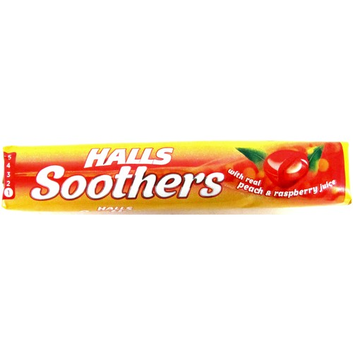 Halls Soothers with Real Peach & Raspberry Juice 45g