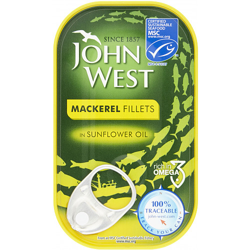 John West MSC Mackerel Fillets in Sunflower Oil 125g