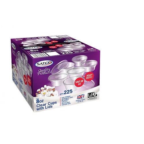 Satco Microwaveable Round Cups & Lids 8Oz