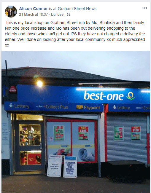 Facebook post about Graham Street News in Dundee